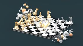 Chess Blast Among the colorful balls on the gray background stock illustration
