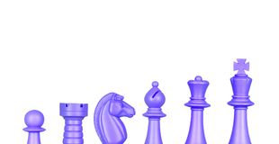 Chess blue figures Royalty Free Stock Photos