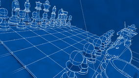 Chess Blueprint Board Game stock video