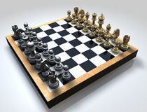 Chess Board. A 3D chess board with golden and silver pieces placed on a reflective background Royalty Free Stock Photos