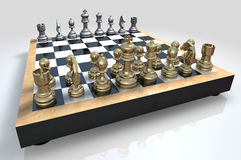 Chess Board. A 3D chess board with golden and silver pieces placed on a reflective background Stock Photography