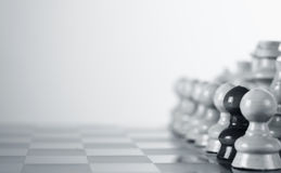 Chess board. Black pawn on the white side of the chess board Stock Image