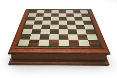 Chess Board. Wood and pewter chess board which doubles as an elegant box container Royalty Free Stock Photography