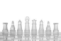 Chess Board. Main chess figures on glass board, with with isolated background stock photography