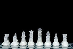 Chess board. Chess set all set up ready for battle Royalty Free Stock Photography