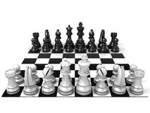 Chess Board with all chess pieces. Front view Royalty Free Stock Images