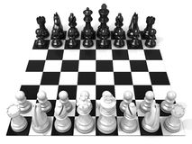 Chess board with all chess pieces. Side view Stock Photo