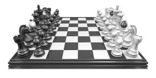 Chess board with all chess pieces 3D Stock Photo