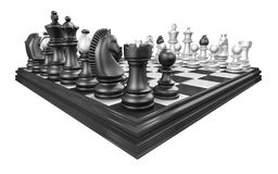 Chess board with all chess pieces 3D Royalty Free Stock Image