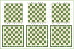 Chessboard set, chess table background. Chess board background design, chess tables set royalty free illustration