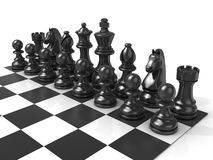 Chess Board with black chess pieces Royalty Free Stock Photo