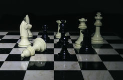 Chess board black and white photo stock photo