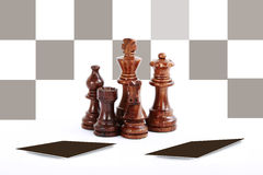 Chess Board. And brown colour chess pieces Stock Photography