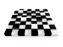 Chess Board Cells. With different sizes, heights, isolated on white background Stock Images