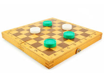 Chess board and checkers. Isolated on a white background Stock Photo