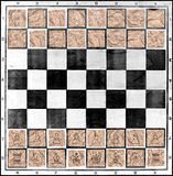 Chess board with chess figures on pieces of packaging paper Royalty Free Stock Photos