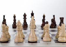 Chess board with chess pieces. Close up Stock Photo