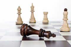 Chess board with chess pieces. Close up Royalty Free Stock Image