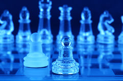 Chess board and chess pieces Royalty Free Stock Photos