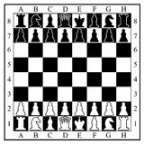 Chess board with chess pieces. Stock Images