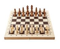 Chess board with chess wooden pieces isolated on white Stock Images