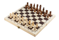 Chess board with chess wooden pieces on white Stock Photo