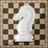 Chess board and chessmen vector leisure concept knight. Chess board and chessmen vector leisure. Concept knight group white and black piece competition Stock Photography