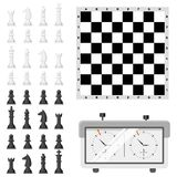 Chess board and chessmen leisure concept knight group white and black piece competition vector illustration Stock Images