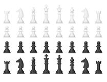 Chess board and chessmen leisure concept knight group white and black piece competition vector illustration. Chess board and chessmen vector leisure. Concept Stock Image