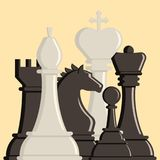 Chess board and chessmen vector strategy play leisure battle choice tournament tools. Chess board and chessmen vector leisure. Concept knight group white and Royalty Free Stock Image