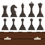 Chess board and chessmen vector strategy play leisure battle choice tournament tools. Chess board and chessmen vector leisure. Concept knight group white and Royalty Free Stock Photography