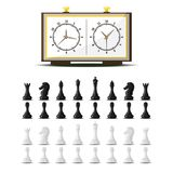 Chess board and chessmen vector leisure concept knight group white and black piece competition. Chess board and chessmen vector leisure. Concept knight group Royalty Free Stock Photos