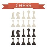 Chess board and chessmen vector strategy play leisure battle choice tournament tools. Chess board and chessmen vector leisure. Concept knight group white and Royalty Free Stock Photos