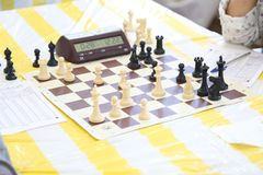 Chess board and clock classic stock image