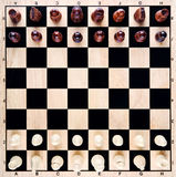 Chess board. Closeup with pieces Royalty Free Stock Images