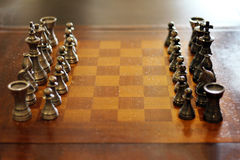 Chess board with copy space in the middle Royalty Free Stock Photos