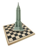 Chess Board and Empire State Building Stock Photo