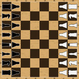 Chess board with figure. Game strategy, pawn and queen, king and chessboard, sport intelligence, vector graphic illustration Stock Image