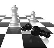 Chess Board With Figures. At white background Stock Photography