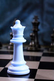 Chess. Board with figures on it in the future on a blue background Stock Photo