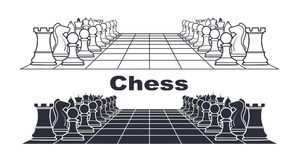 Chess board with figures  illustration. On the image presented Chess board with figures  illustration Stock Images