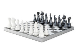 Chess board with figures isolated on white background. 3d render. Ing Stock Photography