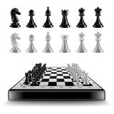 Chess board with figures isolated on white vector. Chess board with figures isolated on white photo-realistic vector illustration Stock Image