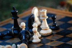Chess board and figures outdoor shot stock photo