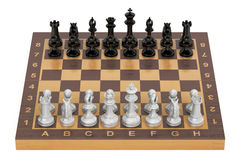 Chess board with figures, top view. 3D rendering Stock Image