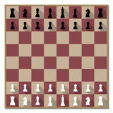 Chess board with figures vector illustration. Chess board with figures and a long diagonal shadow, vector illustration Stock Photos