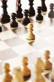 Chess board after first move Royalty Free Stock Image