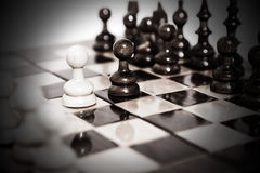 Chess board after first move Royalty Free Stock Images