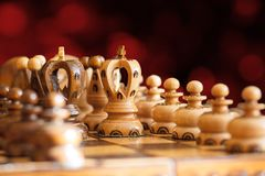 Chess board focus to white king Stock Image