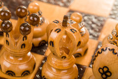 Chess Board Focus To White King And Queen Stock Photos